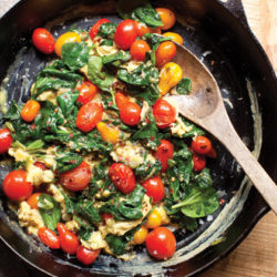 Blistered Tomato Spinach Scramble